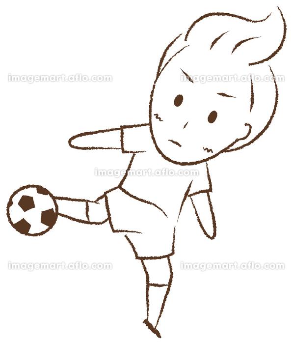 サッカーをする少年 シュートの販売画像