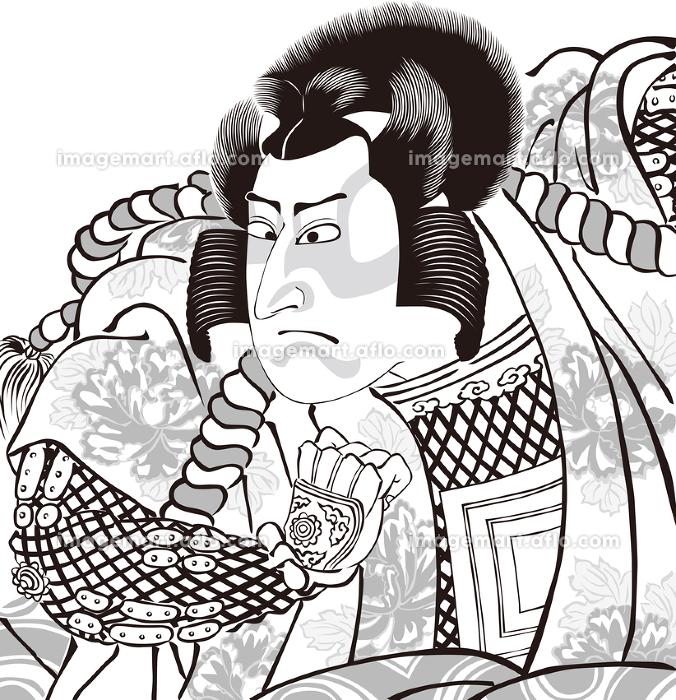 浮世絵 歌舞伎役者 その37 白黒の販売画像