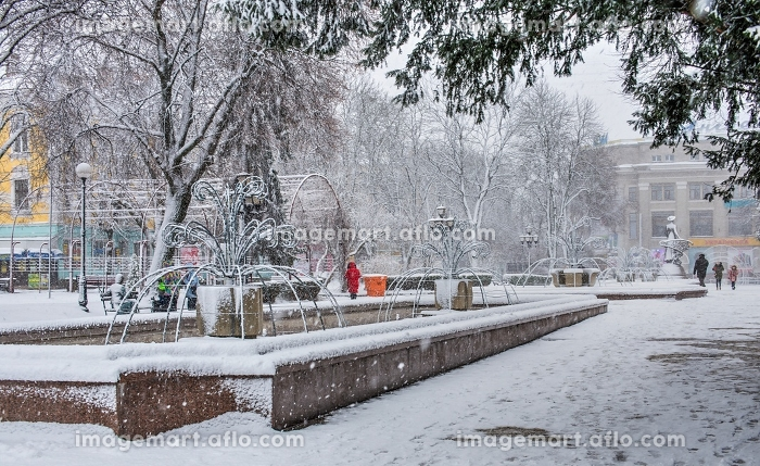 Snowy winter morning in Ternopil, Ukraineの販売画像