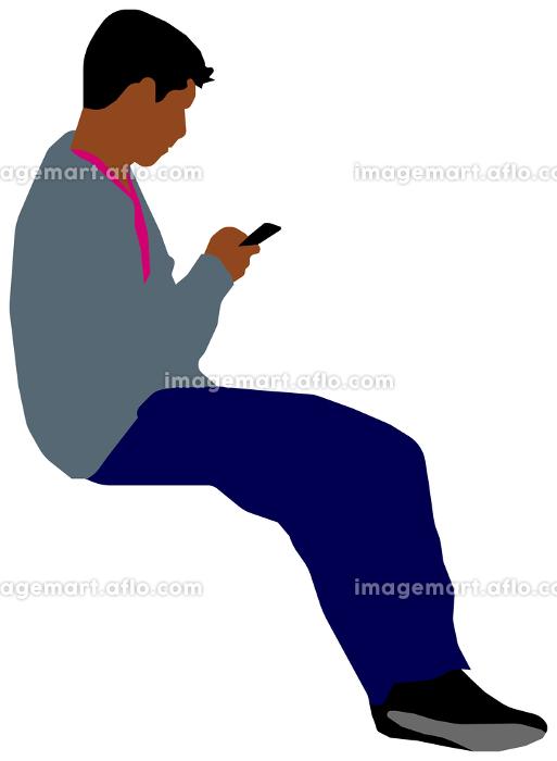 座っている人物・ 全身シルエットイラスト (男性・黒人)の販売画像