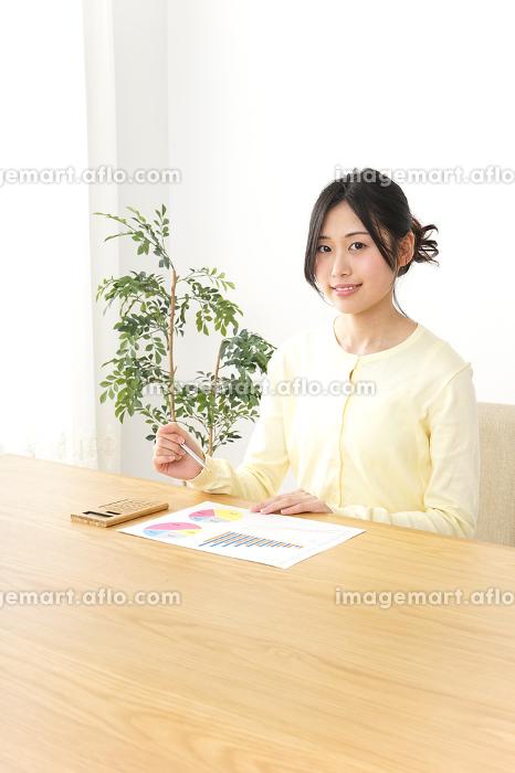 パソコンを使う女性の販売画像