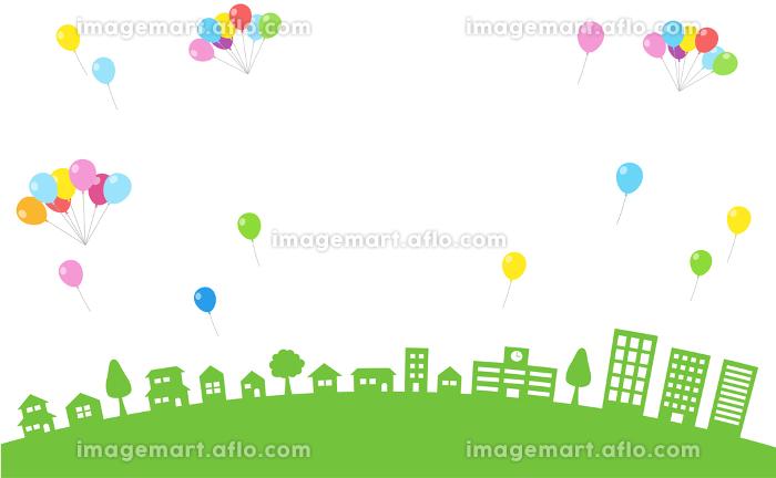 街並みとカラフルな風船の背景素材の販売画像