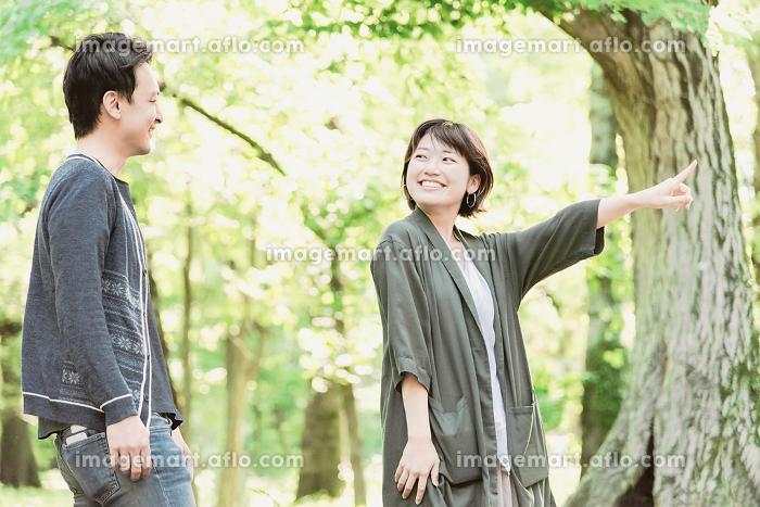 新緑の中、楽しそうに散歩するカップルの販売画像