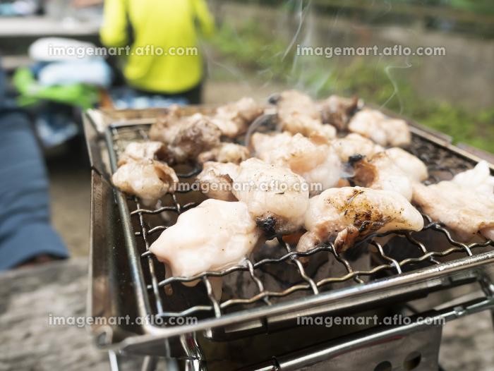 山で調理するBBQ炭火高級和牛焼肉【ホルモン】の販売画像