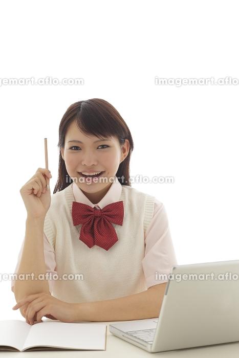 パソコンで勉強をしている学生の女の子の販売画像