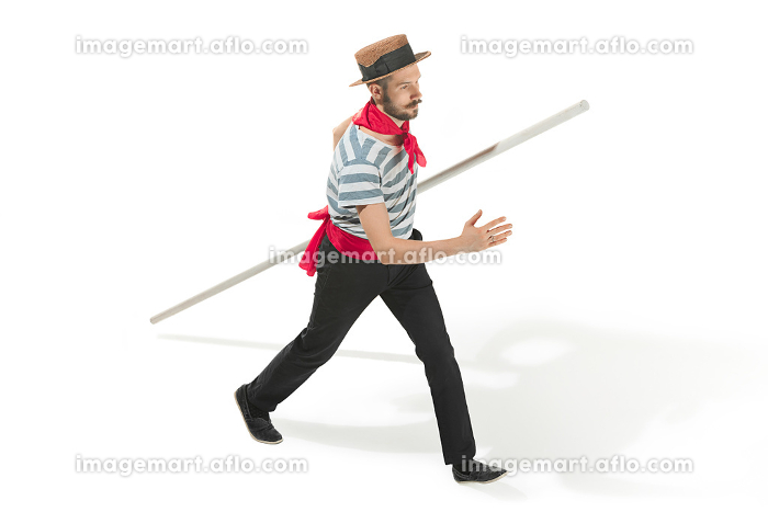 Caucasian man in traditional gondolier costume and hatの販売画像