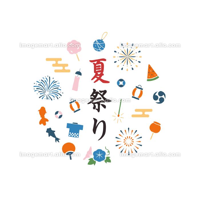 和の夏祭りイラスト素材セット 飾り 縁日 和風 花火の販売画像
