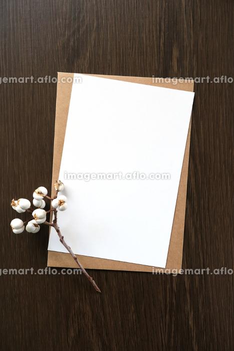 ナンキンハゼの実と白いカード 6 縦位置の販売画像