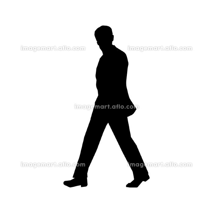 歩いている人物・歩行者 全身(横向き)シルエットイラスト/ ビジネスマン・サラリーマンの販売画像
