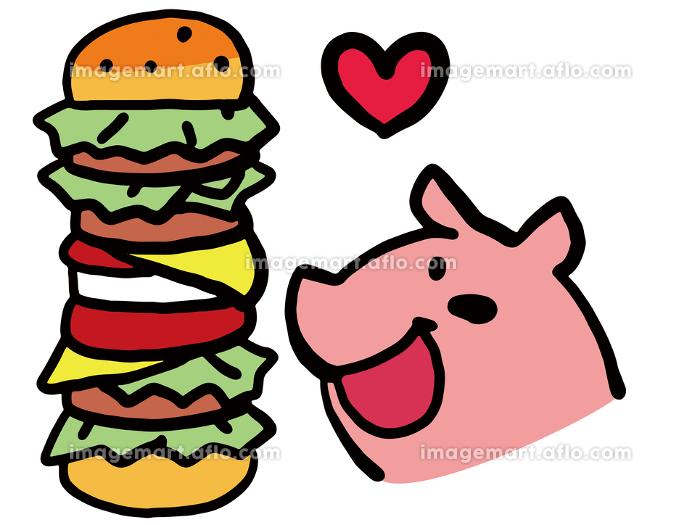 大食いのブタのシンプルなイラストの販売画像