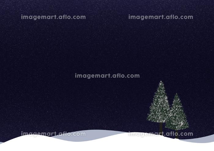 2本の木がある雪景色のイラスト 1の販売画像