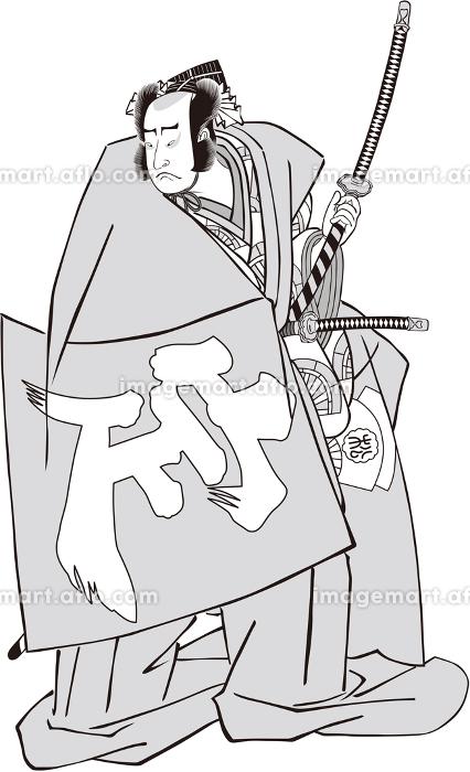 浮世絵 歌舞伎役者 その51 白黒の販売画像