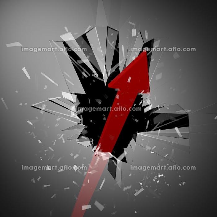 窓を突き破る矢印の販売画像