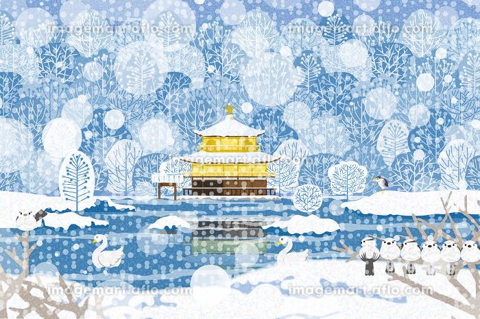 雪景色の金閣寺 イラスト