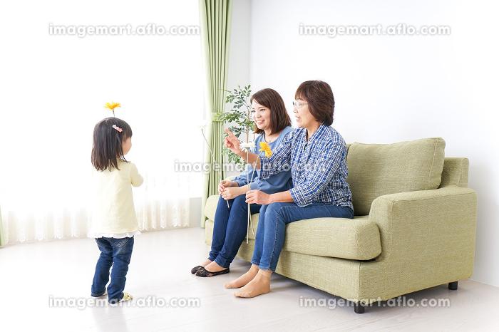 おばあちゃんにお花を渡す子供の販売画像