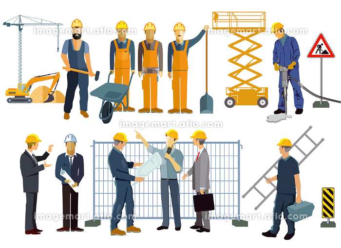 construction site with craftsmen and architects