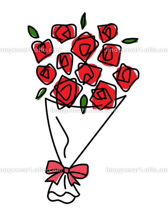 バラの花束 手描きの線画の販売画像