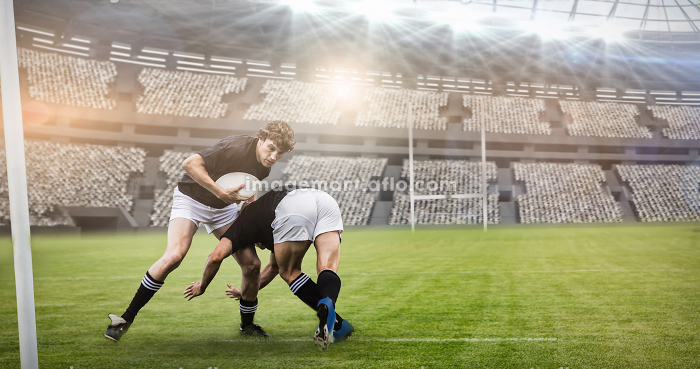 Composite image of rugby fans in arena and 3dの販売画像