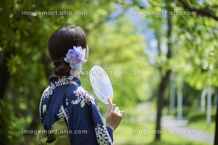 浴衣を着た若い日本人女性の販売画像