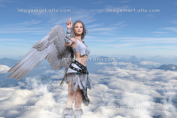 翼の生えた女の子が雲よりも高い空で人差し指を上に向けているの販売画像