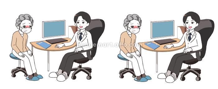 発熱した高齢女性を診察する男性医師
