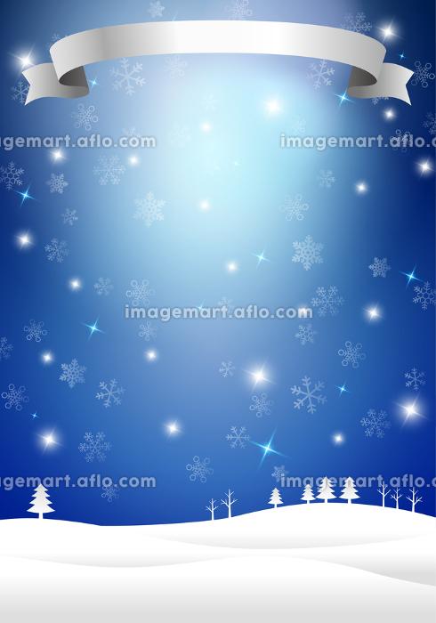 雪景色とリボン 光 クリスマス背景の販売画像