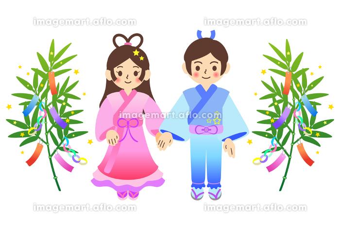 七夕の笹飾りと織姫と彦星のイラストの販売画像