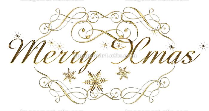 金色メタリックのレリーフ立体的筆記体のメリークリスマスのロゴ、アールヌーボー調のオーナメントの販売画像