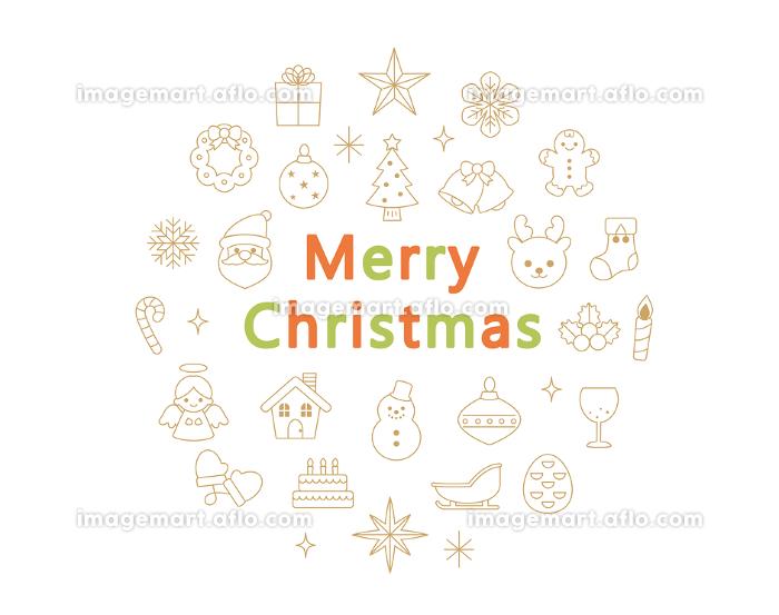 クリスマス アイコンセット 線画 茶色の販売画像