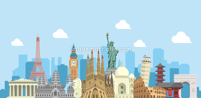 海外旅行・バカンス イメージバナー (文字なし) / 世界の有名な建築物(遺跡・建物・世界遺産)の販売画像