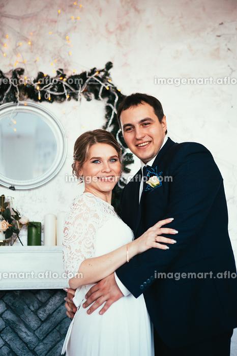 couple groom and bride in the studioの販売画像