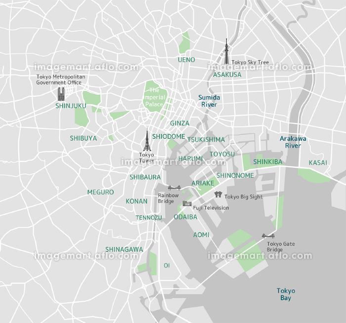 東京ベイエリア(東京湾周辺) 道路マップ (英語)/ 地名・観光名所付きの販売画像