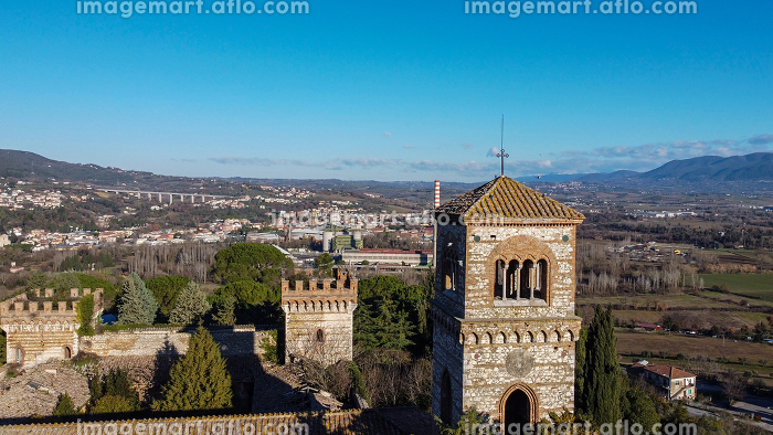 aerial photograph of the tower of the castle of San Girolamo inの販売画像