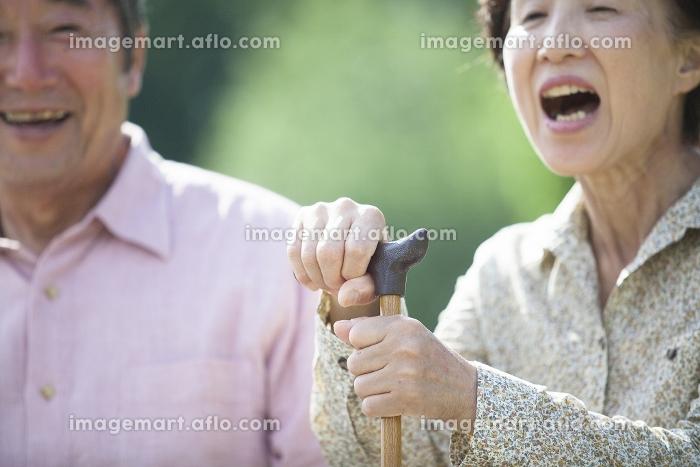 杖を握るシニアの販売画像