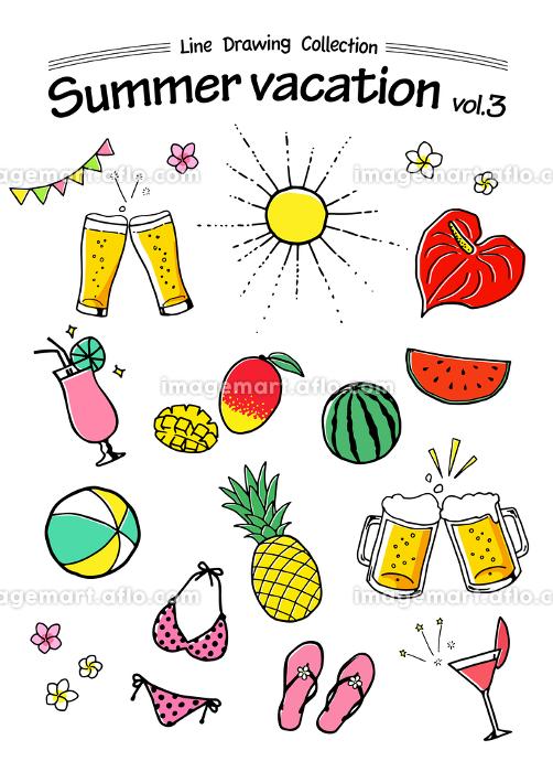 夏の手描きアイコン トロピカル 夏休みの販売画像