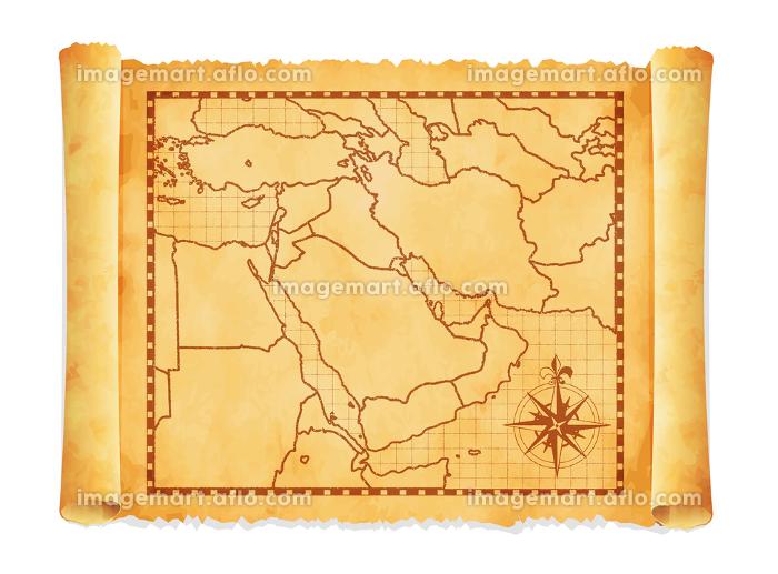 色褪せて丸まった古地図ベクターイラスト / 中東・アラブ地域の販売画像