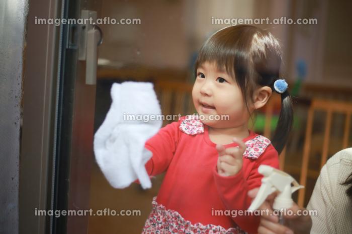 窓拭きする親子の販売画像