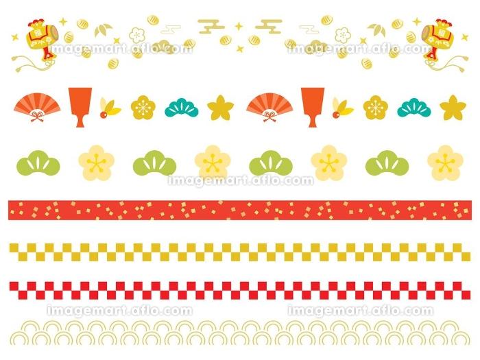 お正月の伝統柄のラインイラストの販売画像