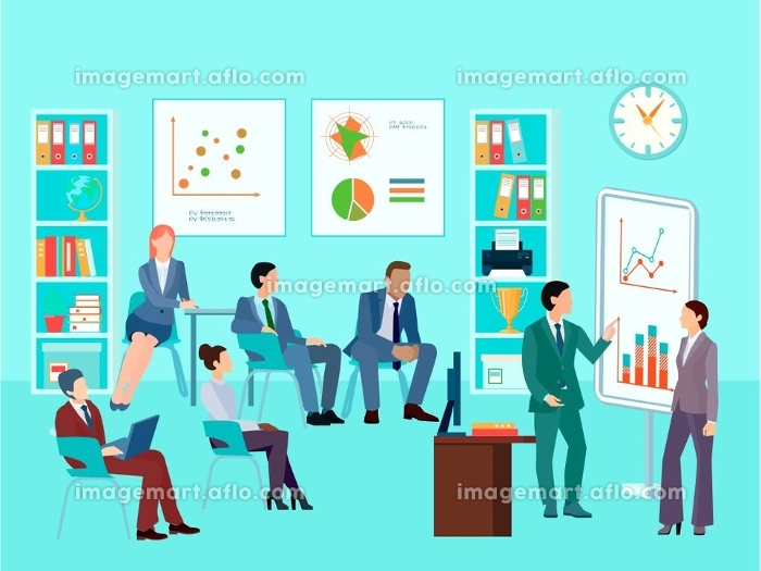 Business Analytics Meeting Composition. Statistics analytics business worker characters meeting composition with staff working session toolbox talk graphs and diagrams vector illustration