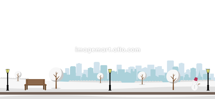 雪の積もった冬の公園 横長バナーイラストの販売画像
