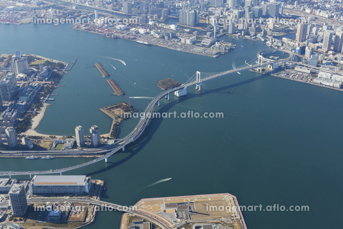 レインボーブリッジの空撮写真の販売画像