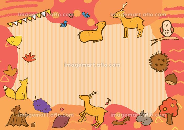 秋の動物フレームイラスト