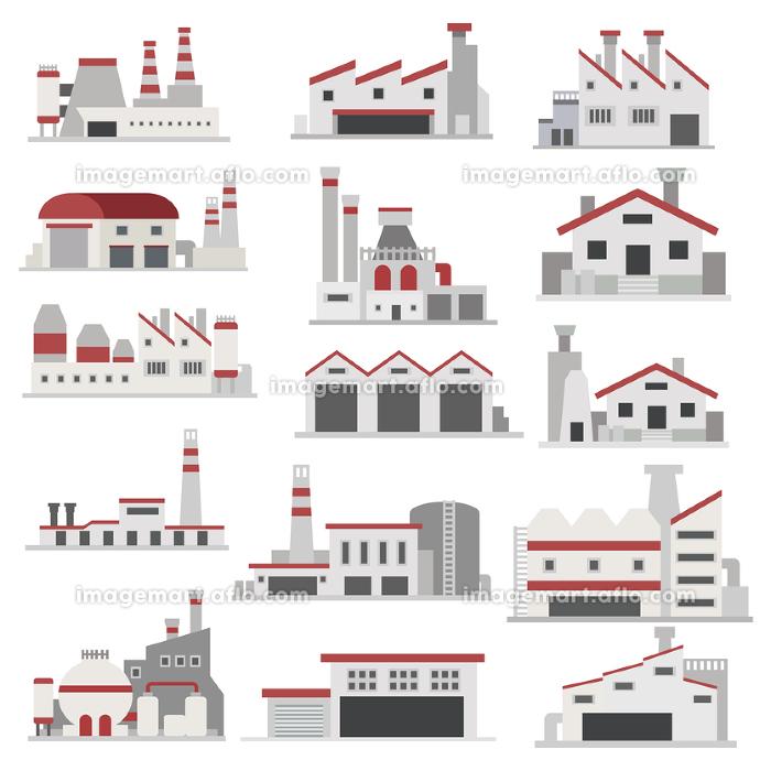 イラスト素材 工場 産業 電力 電気建物 フラットアイコン セットの販売画像