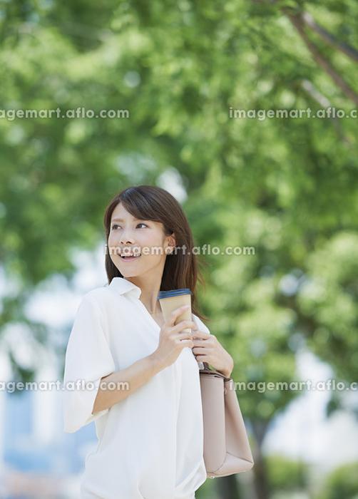 新緑と若い日本人女性の販売画像