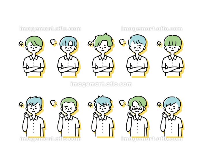 夏の制服を着た様々な男子学生の感情表現イラスト(上半身)の販売画像