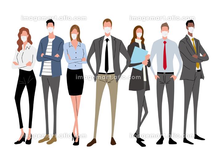 イラスト素材:マスク姿のビジネスマン、ビジネスウーマン、ビジネスチームの販売画像