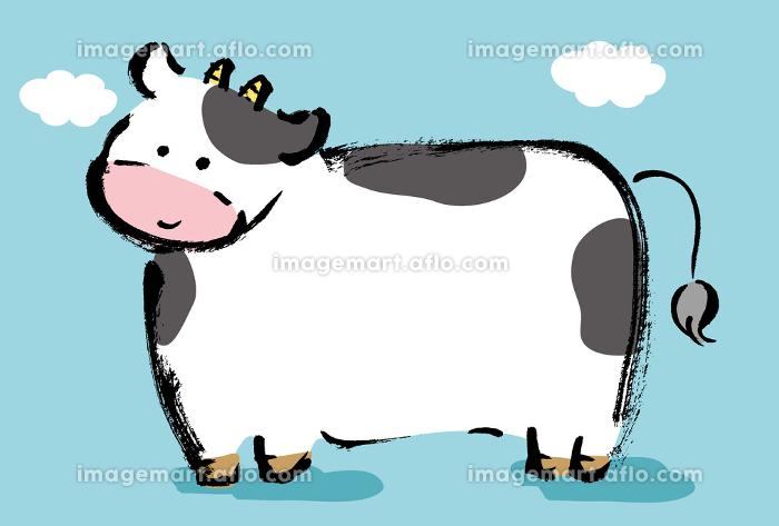 和風手描きイラスト素材 2021年年賀状テンプレート 手描きの牛のコピースペースありのイラスト