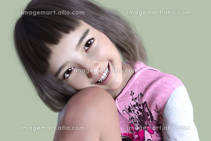 幼い女の子がパーカーワンピースを着て体育座りをし片膝に顔を寄せているの販売画像