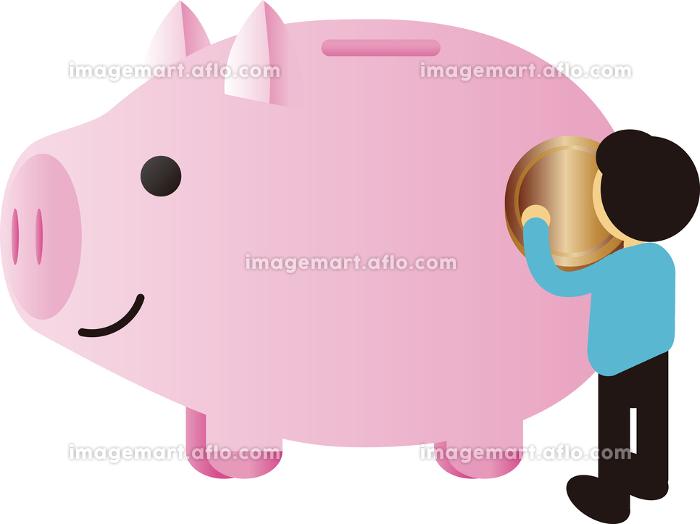ブタ ぶた 貯金箱 コイン 金貨 人物 男性 イメージ イラスト素材の販売画像