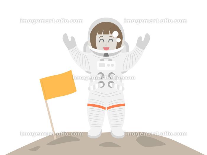 上陸した女性宇宙飛行士のイラストの販売画像